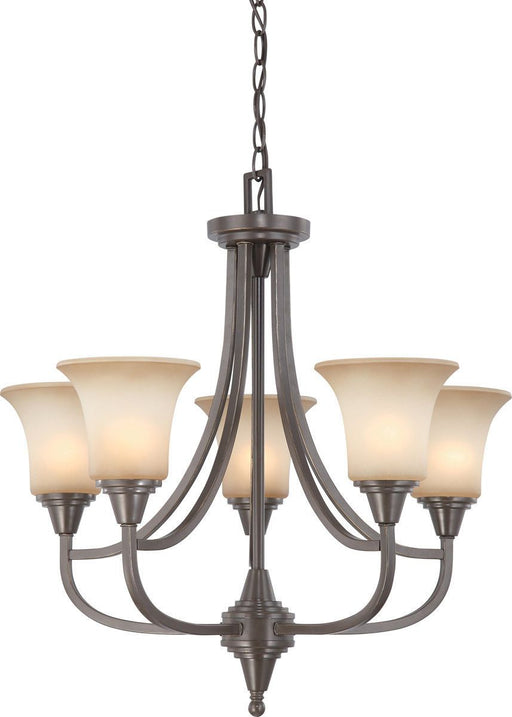 Nuvo Lighting 60-4166 Surrey Collection Five Light Hanging Chandelier in Vintage Bronze Finish