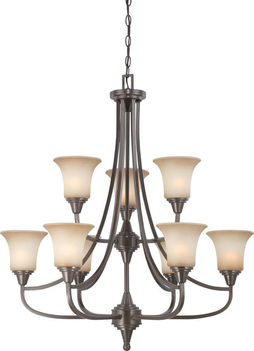 Nuvo Lighting 60-4169 Surrey Collection Nine Light Hanging Chandelier in Vintage Bronze Finish