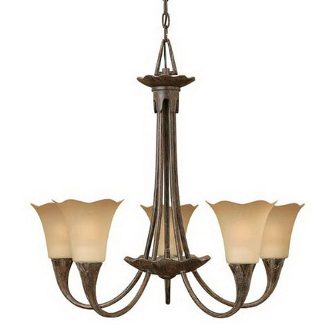 Hinkley Lighting 4285TI Jardino Collection Five Light Hanging Pendant Chandelier in Tuscan Iron Finish