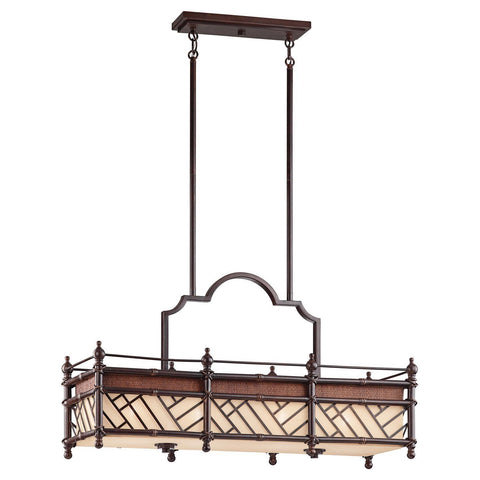 Kichler Lighting 43247 CYZ Rum Cove Collection Four Light Hanging Island Chandelier in Cayman Bronze Finish - Quality Discount Lighting