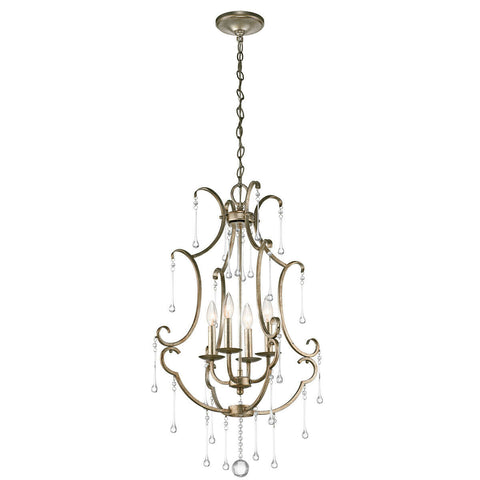 Kichler Lighting 43619 SGD Shelsley Collection Four Light Hanging Chandelier in Sterling Gold Finish and Crystal Accents