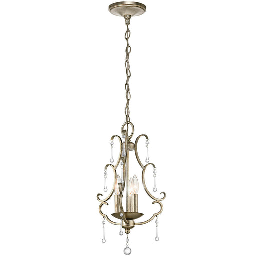 Kichler Lighting 43622 SGD Shelsley Collection Three Light Hanging Chandelier in Sterling Gold Finish and Crystal Accents