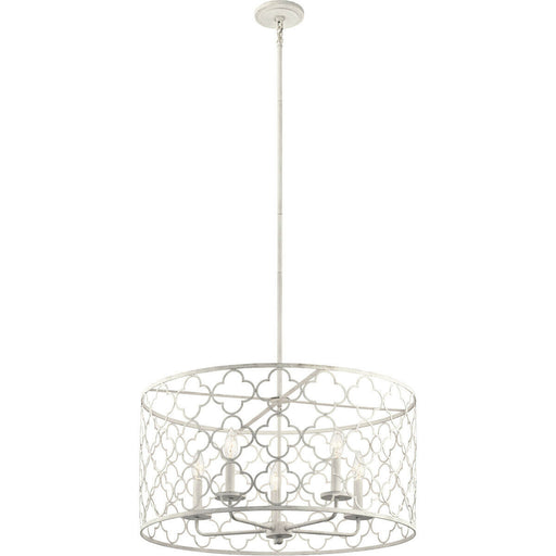 Kichler Lighting 43827ANW Signature Collection Five Light Hanging Pendant Chandelier in Antique White Finish