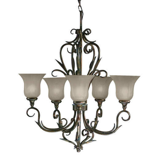 Aztec 44002 by Kichler Lighting Five Light Hanging Chandelier in Legacy Bronze Finish