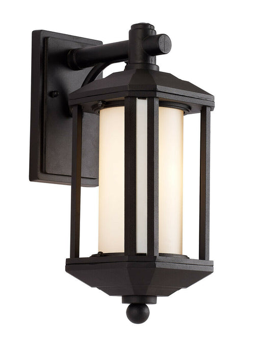 Trans Globe Lighting PL-440250BK-LED One Light GU24 LED Outdoor Wall Mount Lantern in Black Finish