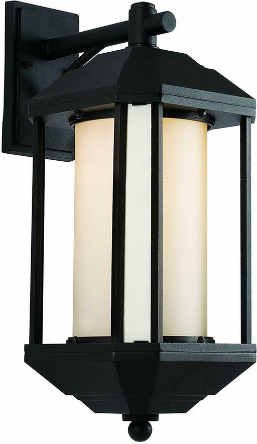 Trans Globe Lighting PL-440251BK-LED Downtown Trolley Collection One Light GU24 LED Outdoor Wall Mount Lantern in Black Finish
