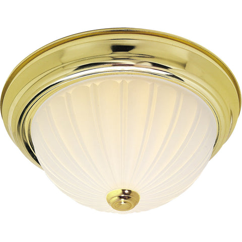 Nuvo Lighting 60-441 Signature Collection Two Light Energy Star Efficient GU24 Flush Ceiling Mount in Polished Brass Finish