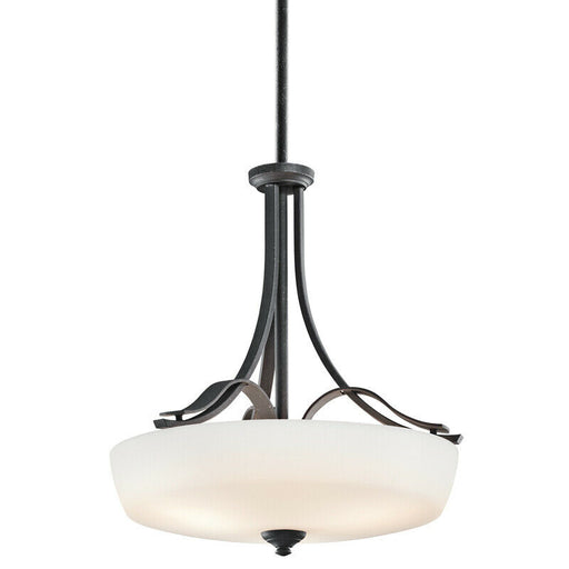 Aztec 34962 by Kichler Lighting Breton Mills Collection Three Light Hanging Pendant Chandelier in Distressed Black Finish