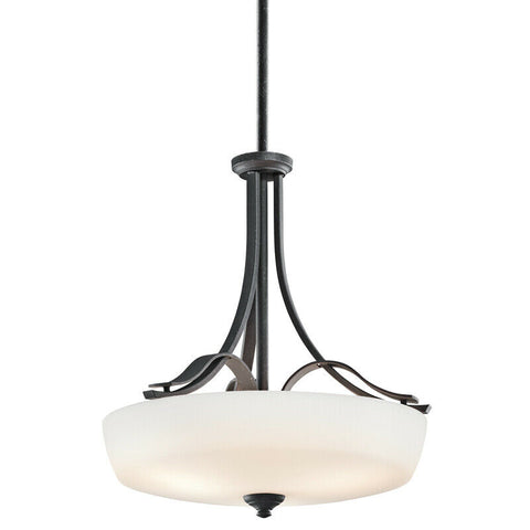 Aztec 34978 by Kichler Lighting Breton Mills Collection Three Light Hanging Pendant Chandelier in Distressed Black Finish