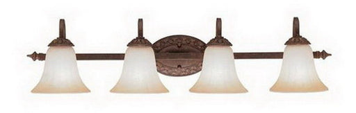 Lighting One 4506 CB by Kichler Lighting Visionaire Four Light Bath Wall Vanity Fixture in Carre Bronze Finish and Light Umber Etched Glass - Quality Discount Lighting