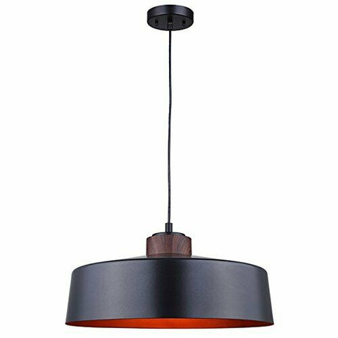 Rainbow Lighting 452B01BWG One Light Hanging Pendant in Matte Black and Faux Wood Metal with Copper Interior Finish