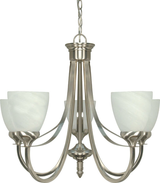 Nuvo Lighting 60-460 Triumph Collection Five Light Energy Star Efficient GU24 Hanging Chandelier  in Brushed Nickel Finish