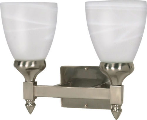Nuvo Lighting 60-467 Triumph Collection Two Light Energy Star Efficient GU24 Bath Vanity Wall Mount in Brushed Nickel Finish