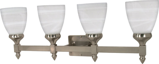 Nuvo Lighting 60-469 Triumph Collection Four Light Energy Star Efficient GU24 Bath Vanity Wall Mount in Brushed Nickel Finish