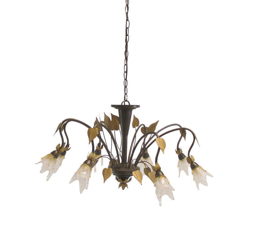 Adjustapost Lighting LPX-LFR47628  Eight Light Chancelier in Brown Finish with Gold Leaf Accents