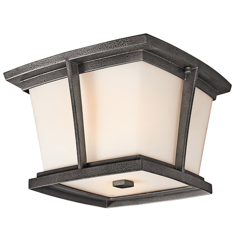 Kichler Lighting 49220 Brockton Collection Two Light Energy Saving Exterior Outdoor Ceiling Mount in Anvil Iron Finish