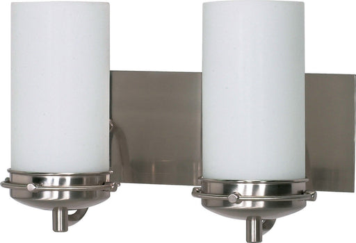 Nuvo Lighting 60-495 Polaris Collection Two Light Energy Star Efficient GU24 Bath Vanity Wall Sconce in Brushed Nickel Finish
