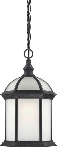 Nuvo Lighting 60-4999 Boxwood Collection One Light Energy Star Efficient GU24 Exterior Outdoor Hanging Pendant Lantern in Textured Black Finish