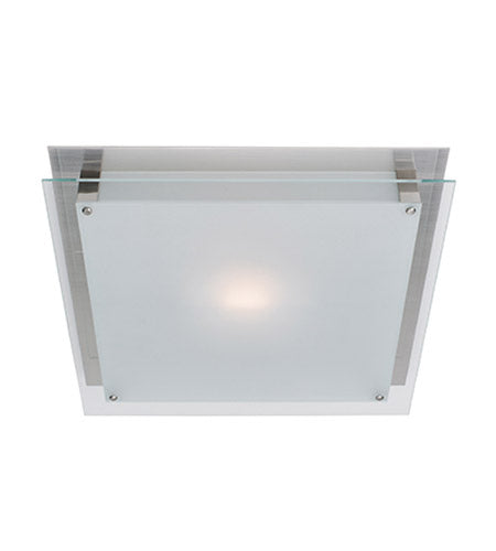 Access Lighting 50030BS-FST Vision Collection One Light Halogen Flush Ceiling Mount in Brushed Steel Finish