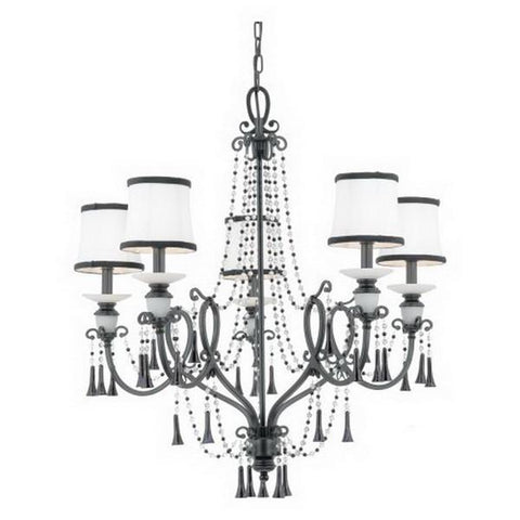 Quoizel Lighting MK5005 K Mackenzie Collection Five Light Hanging Chandelier in Mystic Black Finish - Quality Discount Lighting