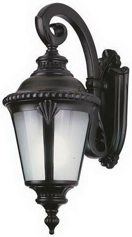 Trans Globe Lighting PL-45043BK-LED Stonebridge Italian Estate Collection One Light LED Outdoor Wall Mount Lantern in Black Finish