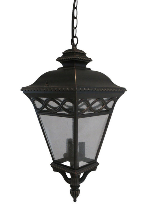 Trans Globe Lighting 50517 BRB Three Light Exterior Outdoor Hanging Pendant Lantern in Burnished Bronze Finish