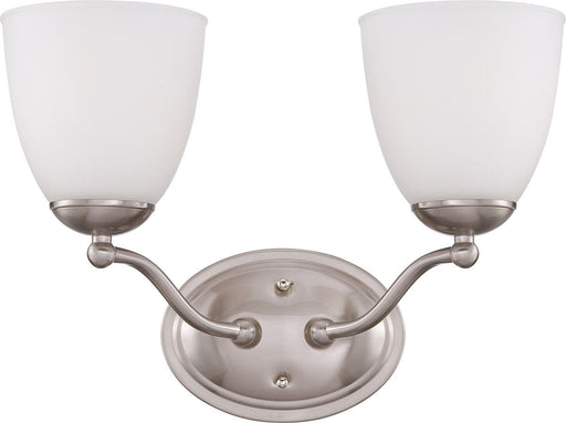 Nuvo Lighting 60-5052 Patton Collection Two Light Energy Star Efficient GU24 Bath Vanity Wall Mount in Brushed Nickel Finish