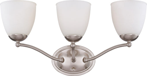 Nuvo Lighting 60-5053 Patton Collection Three Light Energy Star Efficient GU24 Bath Vanity Wall Mount in Brushed Nickel Finish