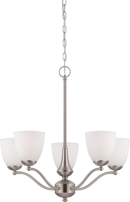 Nuvo Lighting 60-5055 Patton Collection Five Light Energy Star Efficient GU24 Hanging Chandelier in Brushed Nickel Finish