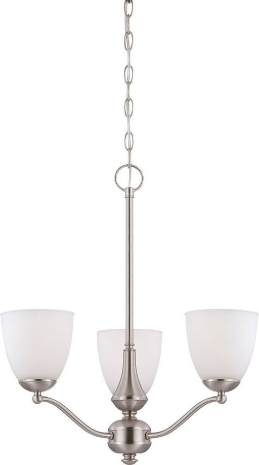 Nuvo Lighting 60-5056 Patton Collection Three Light Energy Star Efficient GU24 Hanging Chandelier in Brushed Nickel Finish