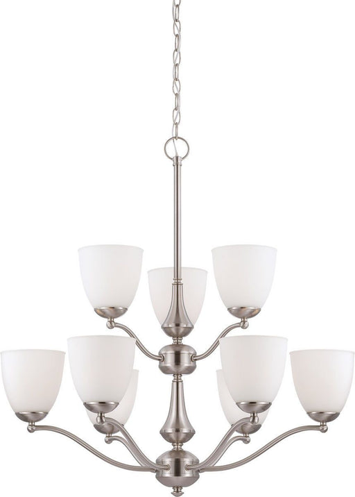 Nuvo Lighting 60-5059 Patton Collection Nine Light Energy Star Efficient GU24 Hanging Chandelier in Brushed Nickel Finish