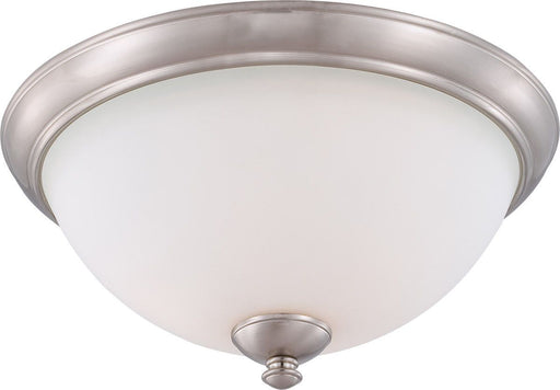 Nuvo Lighting 60-5061 Patton Collection Three Light Energy Star Efficient GU24 Flush Ceiling Mount in Brushed Nickel Finish