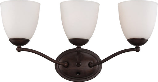 Nuvo Lighting 60-5153 Patton Collection Three Light Energy Star Efficient GU24 Bath Vanity Wall Mount in Prairie Bronze Finish