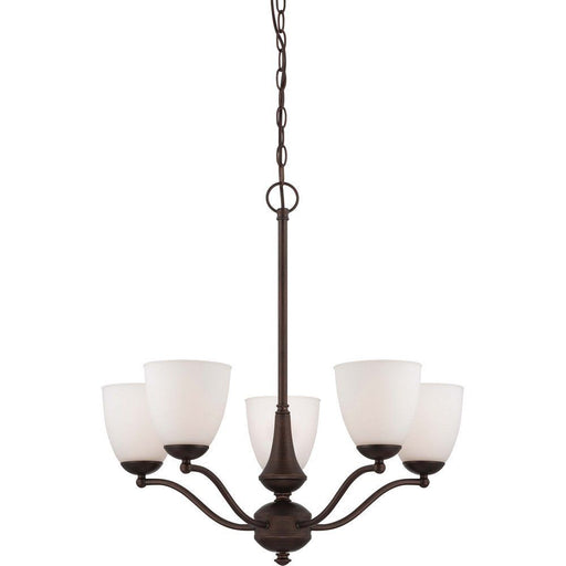 Nuvo Lighting 60-5155 Patton Collection Five Light Energy Star Efficient GU24 Hanging Chandelier in Prairie Bronze Finish