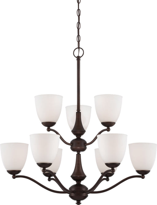Nuvo Lighting 60-5159 Patton Collection Nine Light Energy Star Efficient GU24 Hanging Chandelier in Prairie Bronze Finish