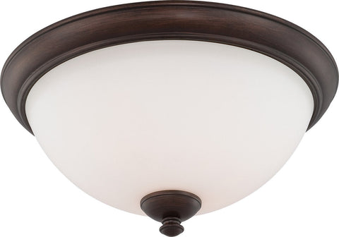 Nuvo Lighting 60-5161 Patton Collection Three Light Energy Star Efficient GU24 Flush Ceiling Mount in Prairie Bronze Finish