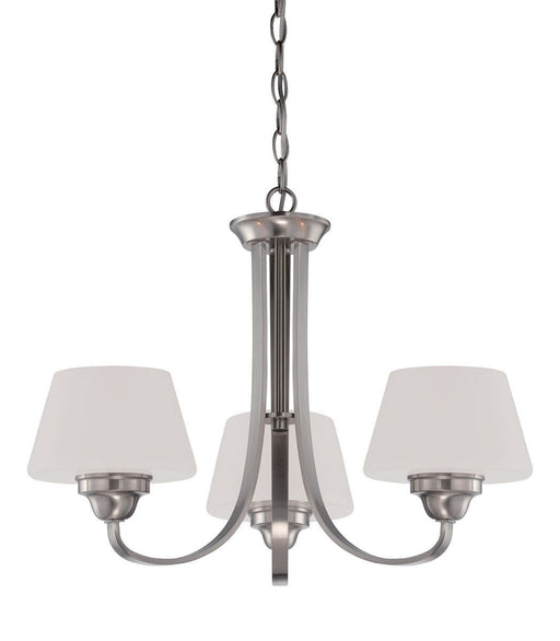 Nuvo Lighting 60-5224 Ludlow Collection Three Light Hanging Chandelier in Brushed Nickel Finish