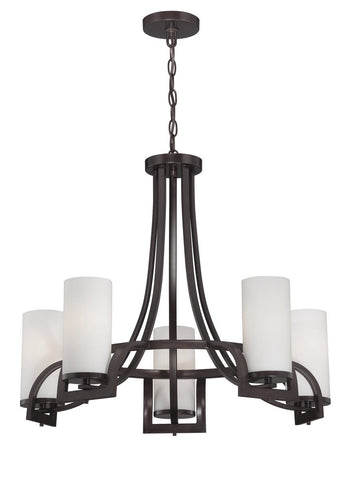 Nuvo Lighting 60-5235 Daytona Collection Five Light Hanging Chandelier in Russet Bronze Finish