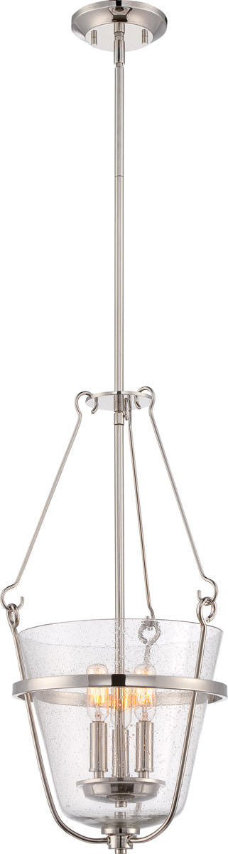 Nuvo Lighting 60-5289 Latham Collection Three Light Hanging Pendant in Polished Nickel Finish