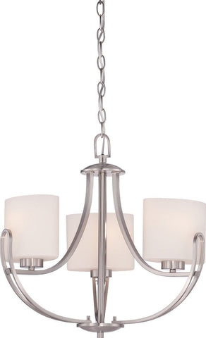 Nuvo Lighting 60-5298 Lola Collection Three Light Hanging Pendant Chandelier in Brushed Nickel Finish
