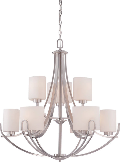 Nuvo Lighting 60-5299 Lola Collection Nine Light Hanging Pendant Chandelier in Brushed Nickel Finish