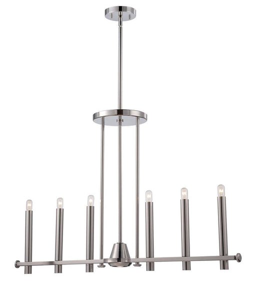 Nuvo Lighting 60-5342 Telegraph Collection Seven Light Hanging Linear Pendant Chandelier in Polished Nickel Finish
