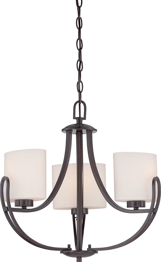 Nuvo Lighting 60-5398 Lola Collection Three Light Hanging Chandelier in Georgetown Bronze Finish