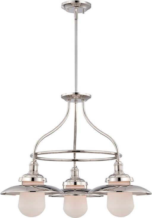 Nuvo Lighting 60-5423 Bayport Collection Three Light Hanging Chandelier in Polished Nickel Finish