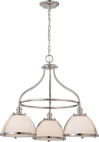 Nuvo Lighting 60-5433 Sagamore Collection Three Light Hanging Pendant Chandelier in Polished Nickel Finish