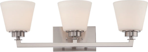 Nuvo Lighting 60-5453 Mobili Collection Three Light Bath Vanity Wall Mount in Brushed Nickel Finish