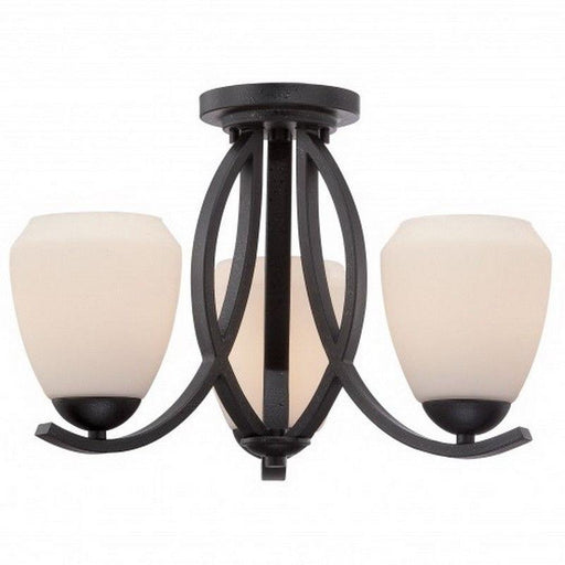Nuvo Lighting 60-5464 Bali Collection Three Light Semi Flush Ceiling Mount in Textured Black Finish