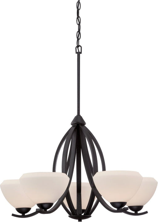 Nuvo Lighting 60-5465 Bali Collection Five Light Hanging Chandelier in Textured Black Finish