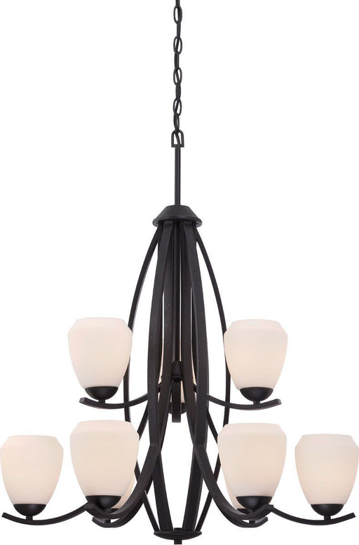 Nuvo Lighting 60-5469 Bali Collection Nine Light Hanging Chandelier in Textured Black Finish