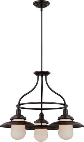 Nuvo Lighting 60-5523 Bayport Collection Three Light Hanging Chandelier in Aged Bronze Finish